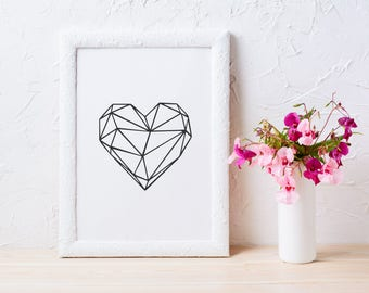 Geometric Heart Print, Scandinavian art, printable poster, Heart Print, Black and white home decor