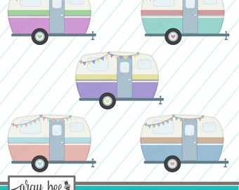 SALE Vintage Camper Pastels With Bunting Clipart SetCommercial UseInstant Download Digital Images CP242