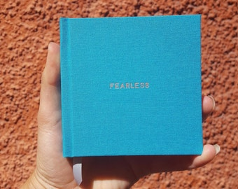 FEARLESS Notebook / Sketchbook / Journal - Handmade - Unique - Square (10.5 x 10.5 cm) - Feminist collection