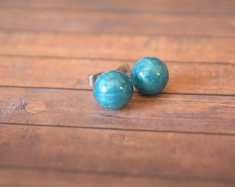 Light Blue Metallic, Stud, Globe, Earrings.