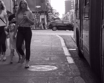 blonde woman walking