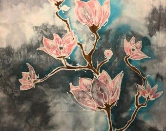 Batik art, Wall hanging, Flowers, Fabric art, Fiber art, Pink, Blue, Grey, Brown.