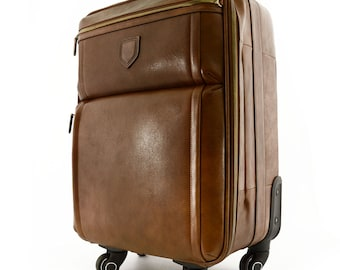 Genuine Leather Travel Trolley with 4 multi directional wheels