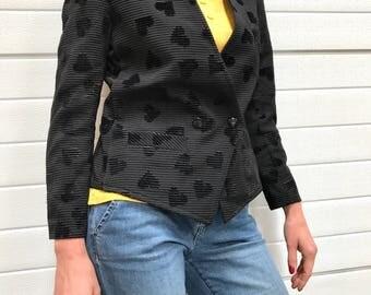 Vintage cotton blend jacket / black stripped vest / velvet and glitter hearts / shoulder padding / hip pockets / long sleeves / 1980s / B203