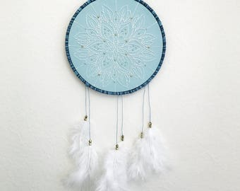 Dream Catcher Embroidery /  Mandala Embroidery Dreamcatcher / Nursery Decor / Feather Embroidery / Embroidery Wall Art / Mandala Wall Art