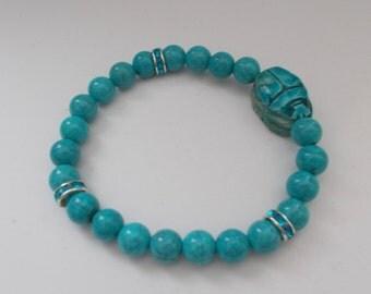 Turquoise Scarab Beaded Bracelet.