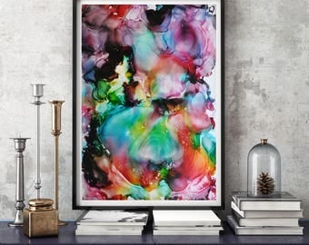 Rainbow art, abstract art, Giclee Print, Home Art, Bedroom decor, Rainbow Painting, Wall Art