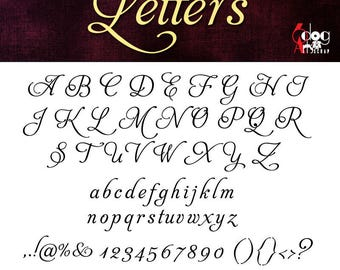 Elegant Script  Alphabet SVG DXF Vector Cut Files Monogram Font Cuttable Letters Vinyl Iron On Heat Press Transfer Silhouette Cricut JB-194