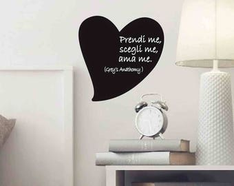 Valentine's Heart, Grey's Anatomy, Quote TV Series, Quote in Italian, Heart Wall Sticker, Fridge Magnet, Heart TV Series, Gift, Wall Decal