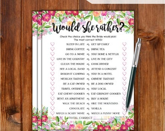 Would She Rather Bridal Shower Game - Flowers Theme Printable Bridal Shower Game - Bachelorette Party Night - Hen Party Game FW76