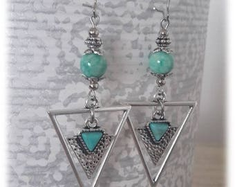 Ethnic triangle and amazonite stone earrings