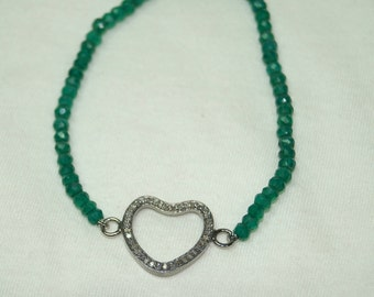 Fashion statement 1.00cts pave diamond heart finding sterling silver Green onyx beads Bracelet - 2651733