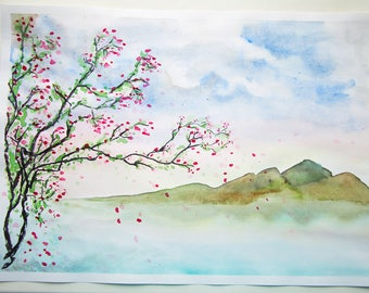 Before Tsunami Original Watercolor Painting Artwork by AliiArtColors, 297x420mm