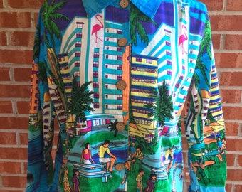 90s Vintage Jane Ashley Beach Cityscape Blazer. Size M