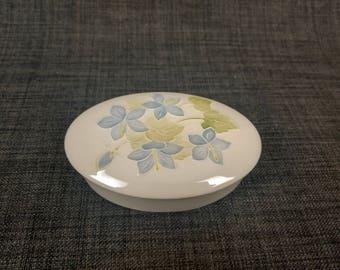 Vintage Moorcroft Pottery Oval Lidded Trinket Box with Flowers