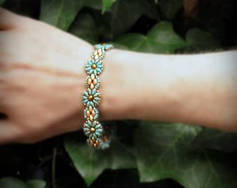 Turquoise Picasso Flowers Superduo Czech Glass Bracelet