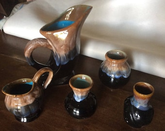 Set of vases style Brown, black and blue vintage Vallauris french