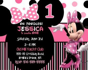 Pink Minnie Mouse First Birthday Invitation