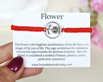 Flower girl bracelet Best friend bracelets Charm bracelets for girls Red string of fate Kabbalah red string Long distance gift Wish bracelet