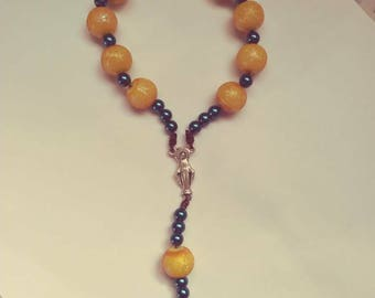 Catholic rosary,pocket rosary,decade rosary,frosted yellow rosary,mens rosary,rosaries,confirmation,first communion