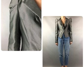 Gray Vintage Jacket 90s Women Blazer Cropped Jacket Vintage Women Jacket Vintage 90s Gray Blazer Cropped Women Jacket 90s Gray Blazer Women