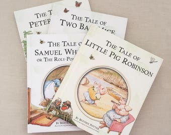 4 Beatrix Potter Books - Vintage childrens room decor baby nursery - hardcover classic books - peter rabbit pig robinson two bad mice #0776