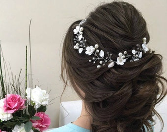 Floral Hair Vine Bridal Pearl Vine Floral Hair Piece Floral Headpiece Flower Headwear Wedding Hair Vine Bridal Accessories Floral Hairpiece