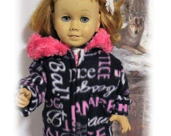 Chatty Cathy doll not included. Dark Purple Dance Fleece Coat with Hood, Zipper and Snap.  (coat only, other clothes are not included)