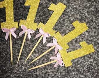 Pink and Gold One Cupcake Toppers with Baby Pink Bows 12TOPPERS