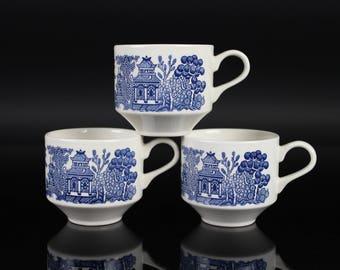 Churchill England Blue Willow Coffee / Tea Mug Cups (Set of 3) - Vintage