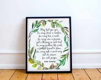 Irish Blessing Printable green wreath quote print May God give you Irish prayer St. Patrick's day blessing Home decor,Irish wedding prayer