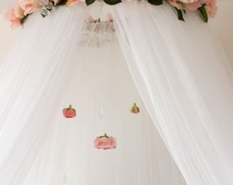 Floral Pink Rose Flower Crib or Bed Canopy With Hanging Crystals and Roses mobile