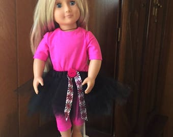 "Black tutu and pink legging for 18"" doll"