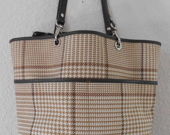 Lauren Ralph Lauren plaid houndtooth  tote bag beige and brown leather trim