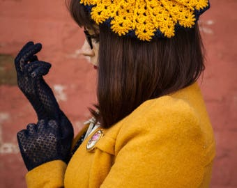 Vintage Style Crochet Navy and Yellow Marigold Beret