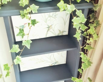 Vintage small blue bookcase, hand painted freestanding bookcase with beautiful wallpaper background design, vintage bookshelves