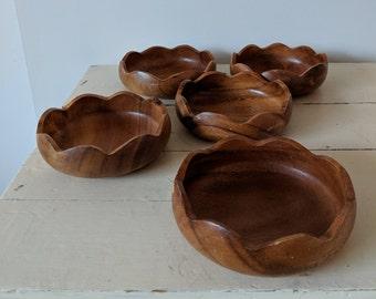 Mid-Century Wood Bowls - Set of 5   Monkey Pod Snack Dished   Vintage Serving Bowls Catchall