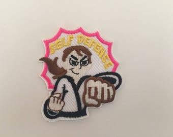 Self defense patch, Self defense Embroidered patch, self defense iron on patch