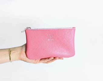 Womens leather pouch with silver logo, pink leather clutch, leather cosmetic case, makeup bag, mini leather rose purse, travel beauty bag