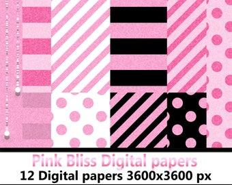 Pink Bliss Digital Paper set