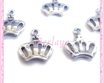 Set of 15 charms silver crowns REF066X3