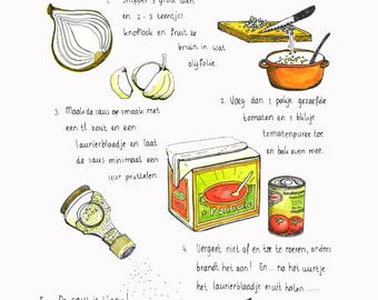 Map//tomato sauce, recipes//A5 format//to put down//mini poster//or send it//ansichtkaart
