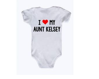 I Love My Aunt Onesie, I Heart My Aunt, Personalized Aunt, Custom Aunt, Gift for Aunt, Baby loves Aunt, Baby Onesie, Baby boy, baby girl