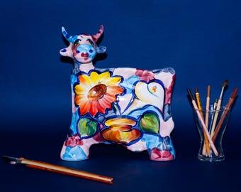 "Medium Ceramic Cow ""Flowers"" Statue Turov Art Pottery Collectible"
