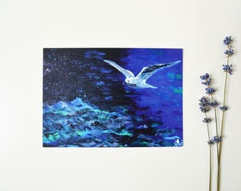 Mini print Postcard print art Blue  postcard Travel postcard Sea lover gift Blank postcard Original postcard art Seagull art