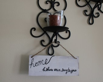 "Small ""Home: Where Our Story Begins"" SIgn"