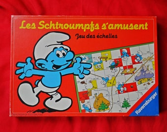 """Vintage French 'snakes & ladders' Smurfs themed board game from 1982 """"Les Schtroumpfs s'amusent"""""""