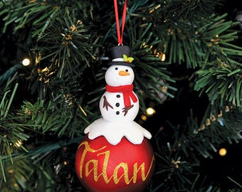 Snowman Character Personalised Red Christmas Decoration