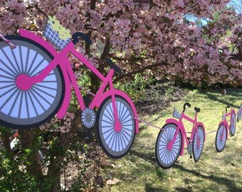 Bicycle Banner -- pick your colors -- Bike, Mountain Bike, Ladies, Girls, Baby Shower, Nursery, Birthday Party