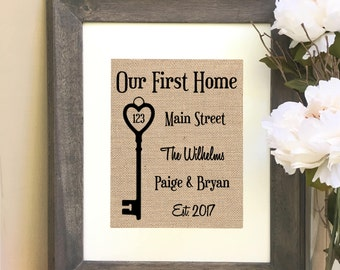 ON SALE Our First Home New Home Gift  Housewarming Gift Print  Address Burlap Print
